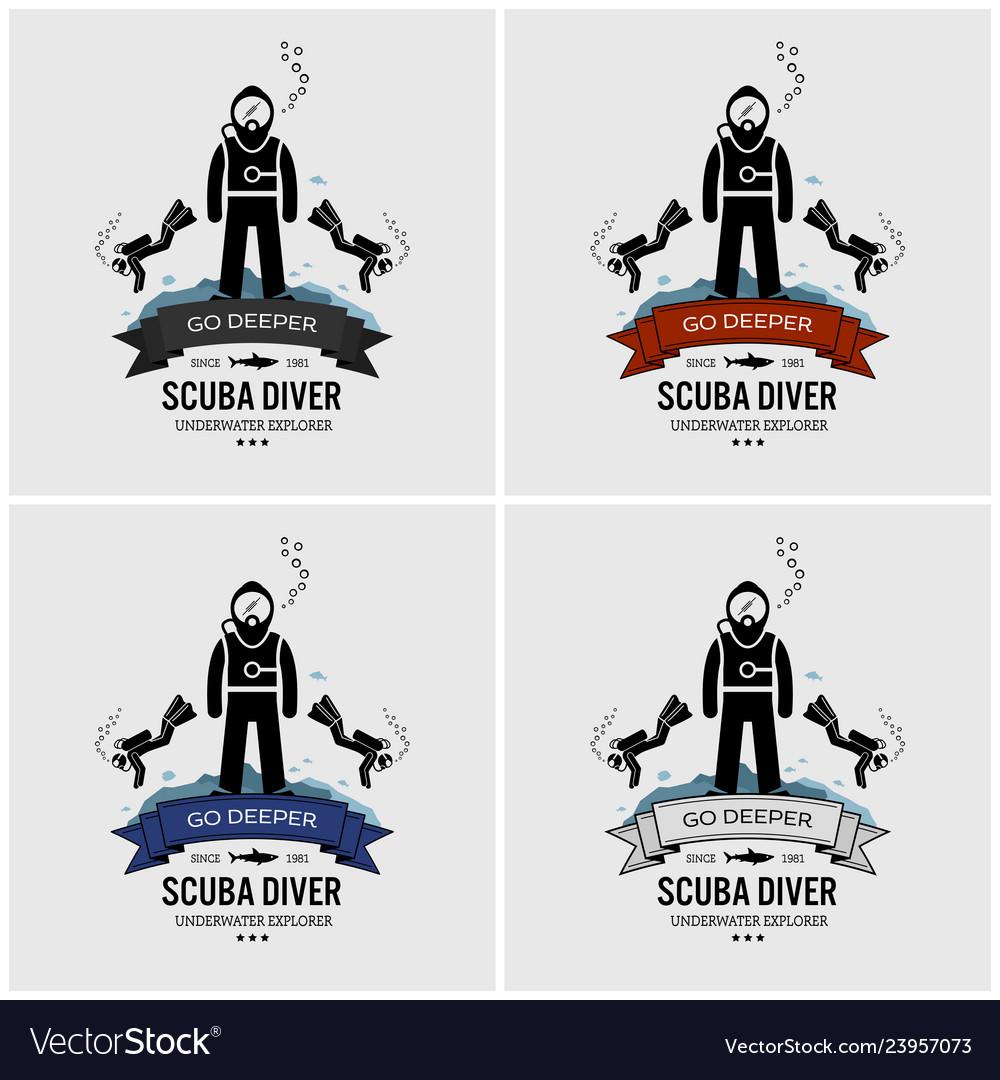 Scuba diving logo design artwork of scuba diver.