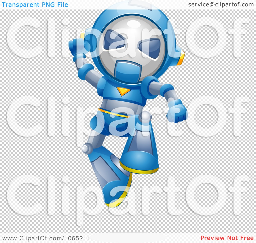 Clipart Victorious Robot Jumping.