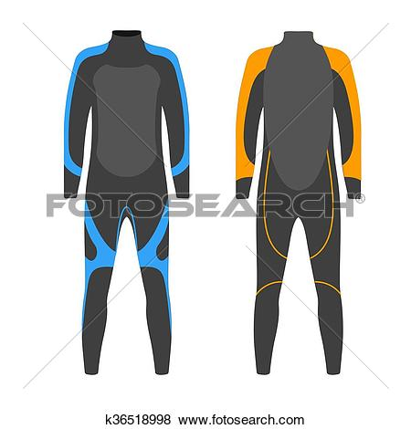 Clip Art of Diving suit vector illustration. Suit for spearfishing.