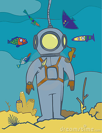 Vintage Diving Suit Stock Illustrations.