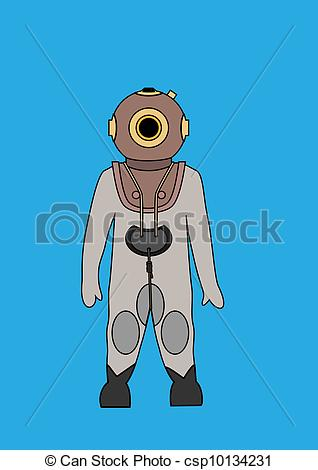Vectors of Deep Sea Diver Bitmap Background.