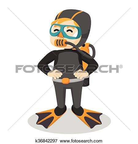 Clip Art of boy using diving suit k36842297.