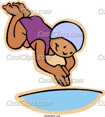 Diving into pool clipart.