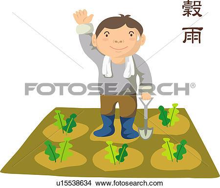Clipart of gogu, farm village, april 20th, 24 seasonal divisions.