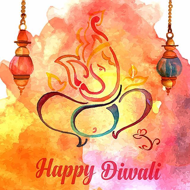 Watercolor Diwali Background, Watercolor Vector, Diwali Vector.