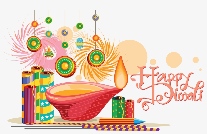 Happy Diwali Background With Festival Crackers Vector.