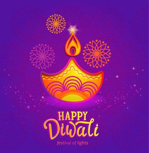 Cute Banner for Happy Diwali festival of lights..