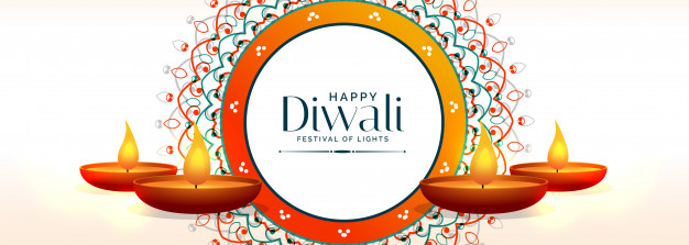 Creative happy diwali banner with diya lamps Vector.