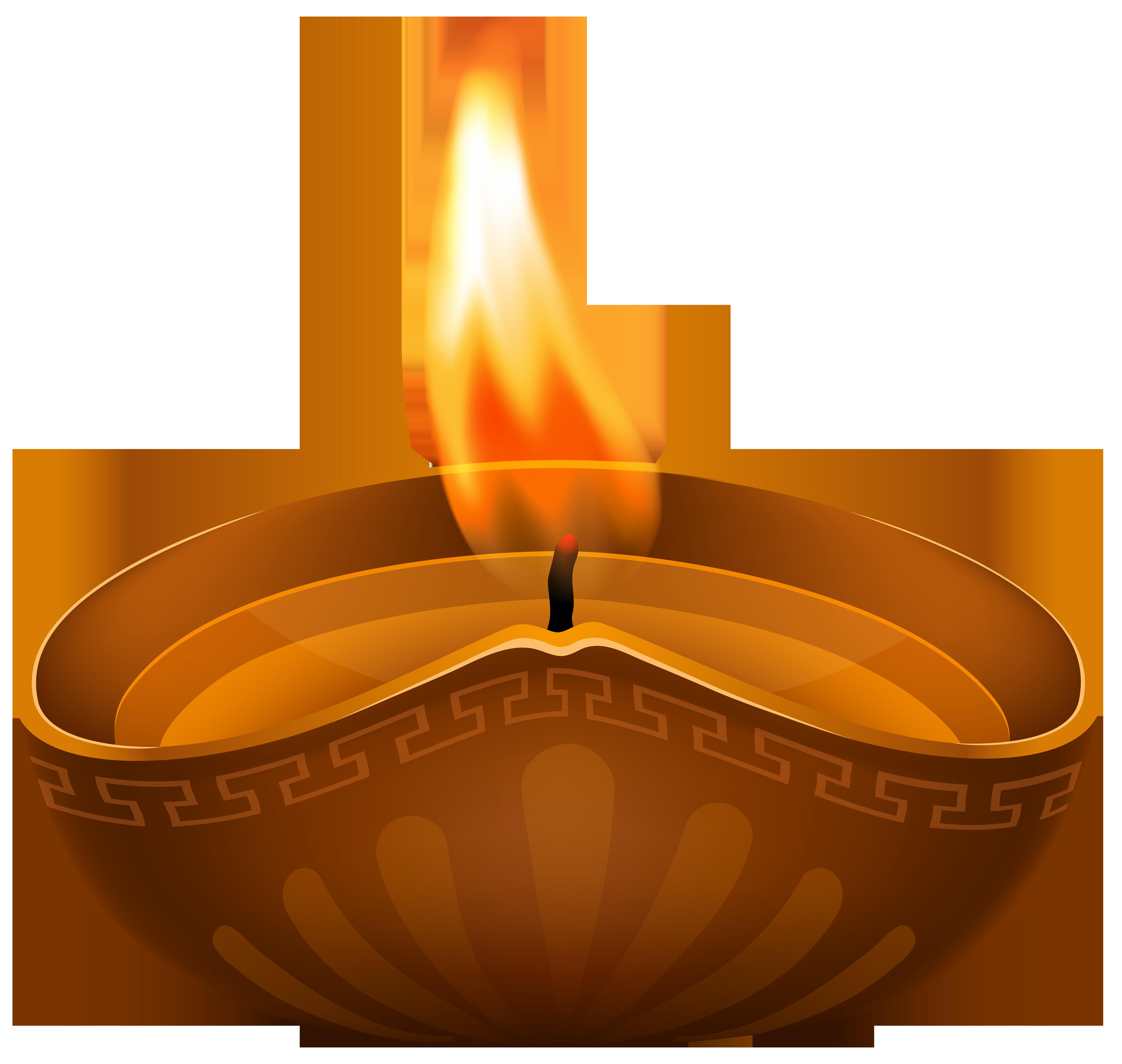 Diwali Candle PNG Transparent Clip Art Image.