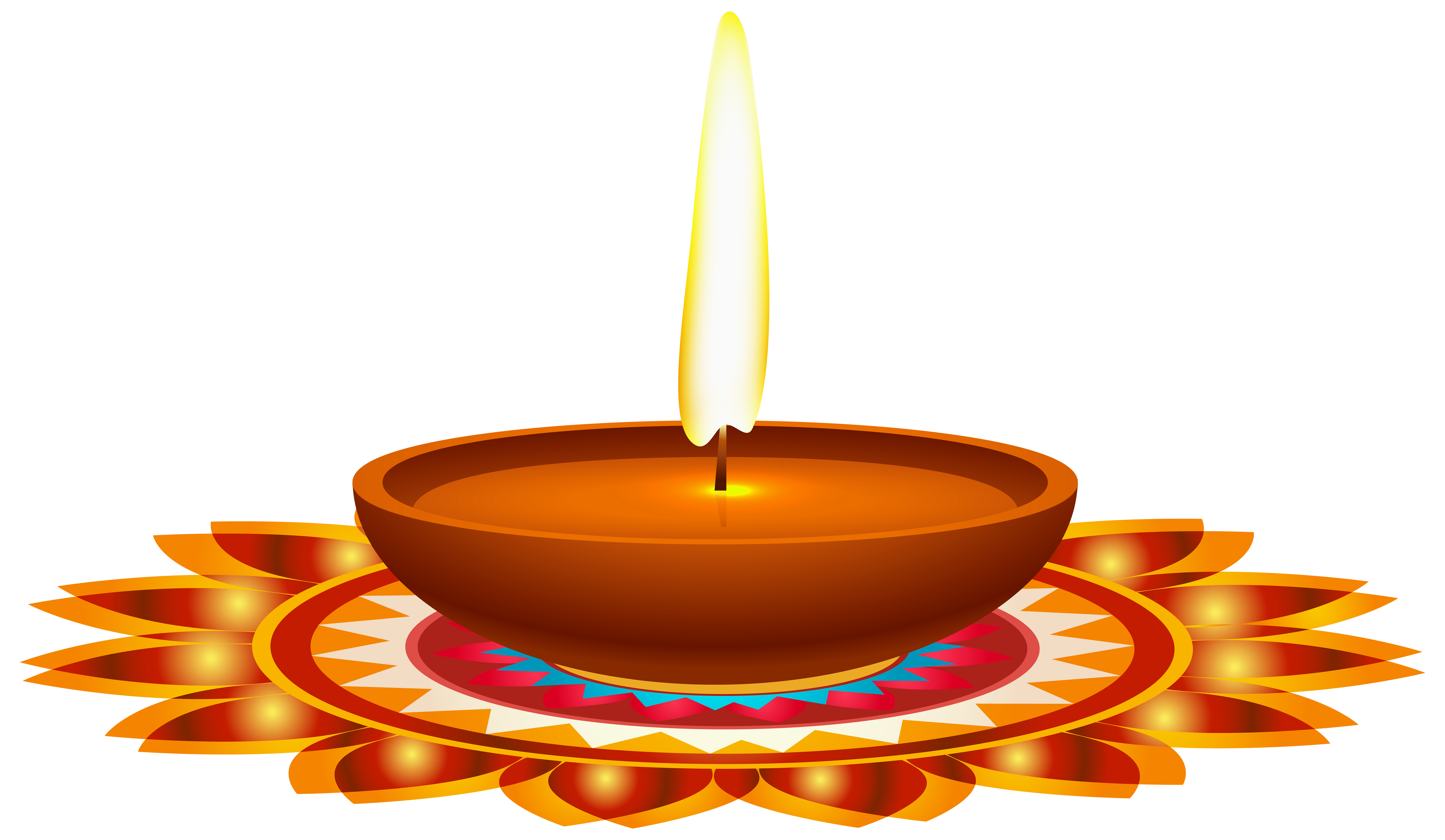 Diwali Candle PNG Clip Art Image.