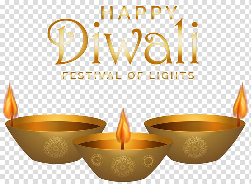 Three gold candle pots with text overlay, Diwali , Happy.
