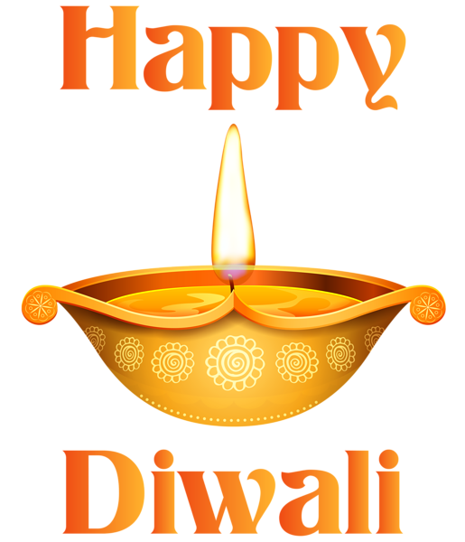 Happy Diwali Candle Transparent Clip Art Image.