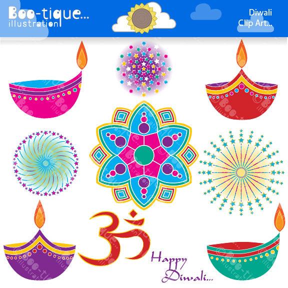 Diwali Digital Clipart. Diwali Clipart. Rangoli Clip Art.
