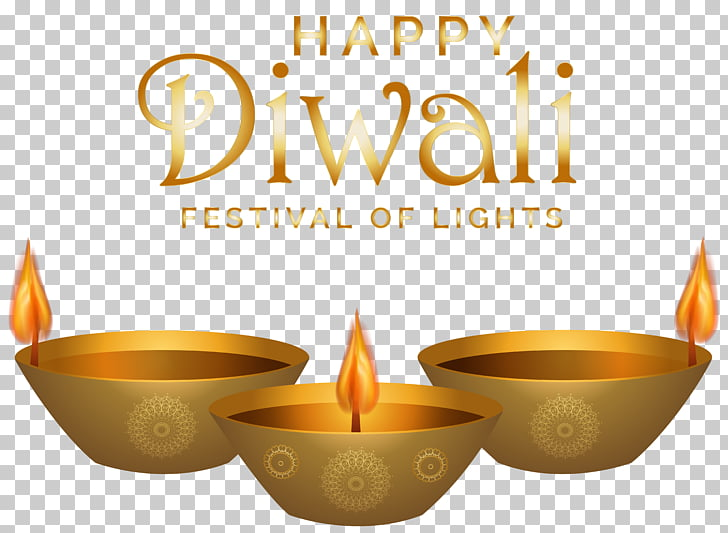 Diwali , Happy Diwali , three gold candle pots with text.