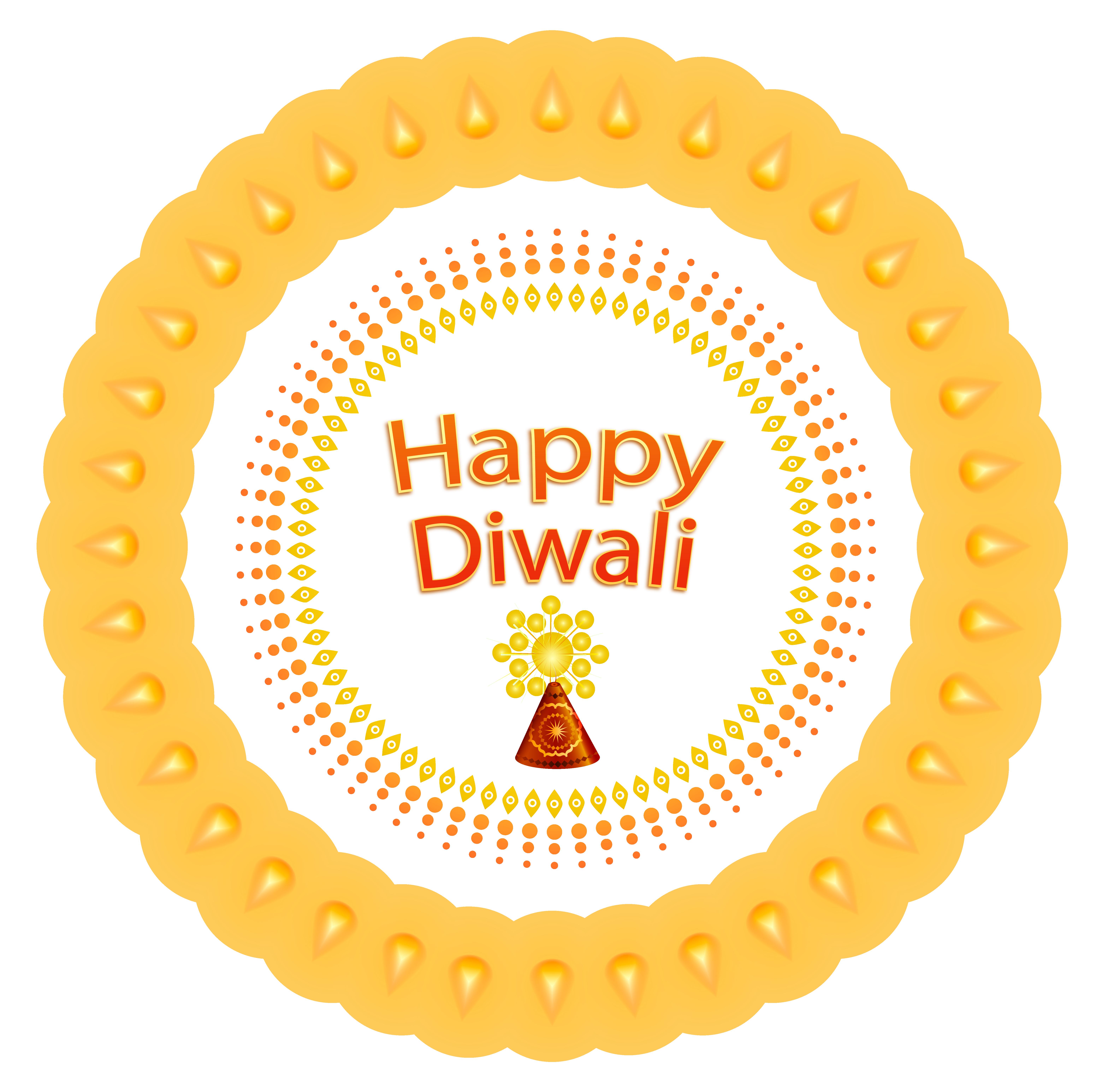 Happy Diwali Decoration PNG Image.