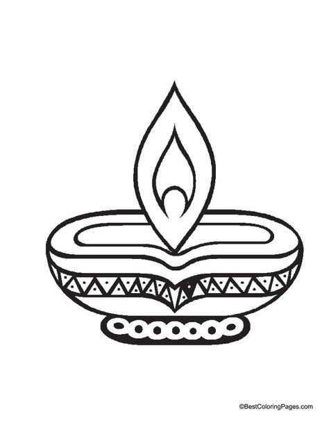 Diwali Diya Coloring Page.