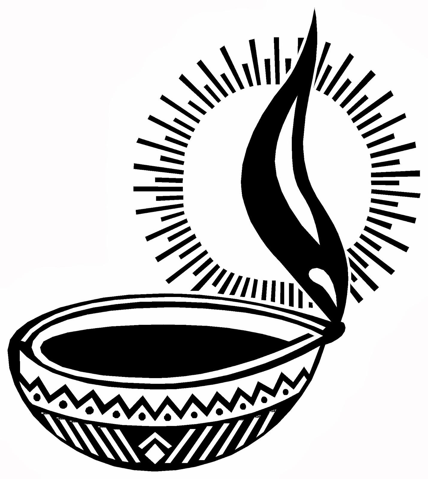 Diwali Diya Clipart Black & White.