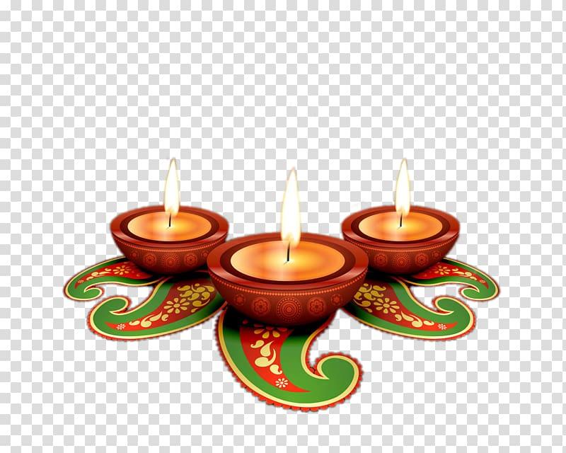 Three diwali diya lamps illustration, Ravana T.