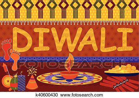 Happy Diwali festival background kitsch art India Clipart.