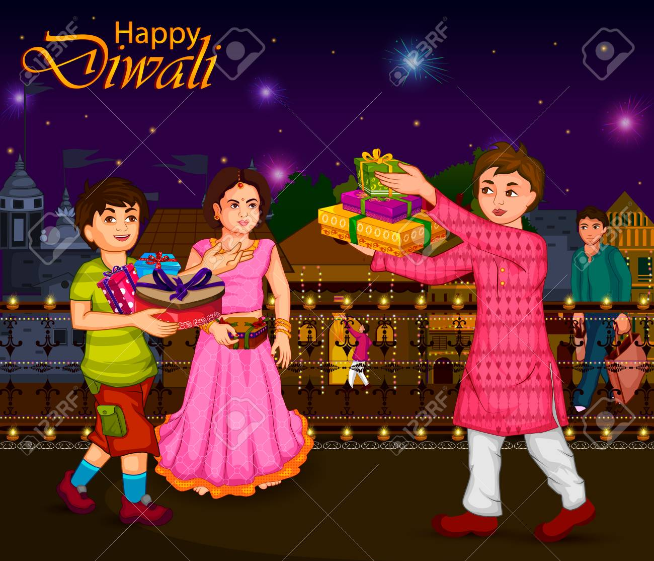 Indian family people celebrating Diwali festival of India in...