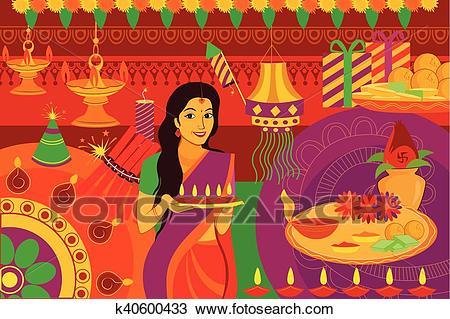 Indian lady with diya Happy Diwali festival background kitsch art India  Clipart.