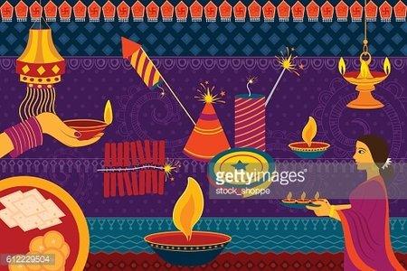 Indian Lady With Diya Happy Diwali Festival Background Kitsch Art.