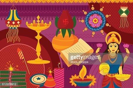 Happy Diwali Festival Background Kitsch Art India premium clipart.