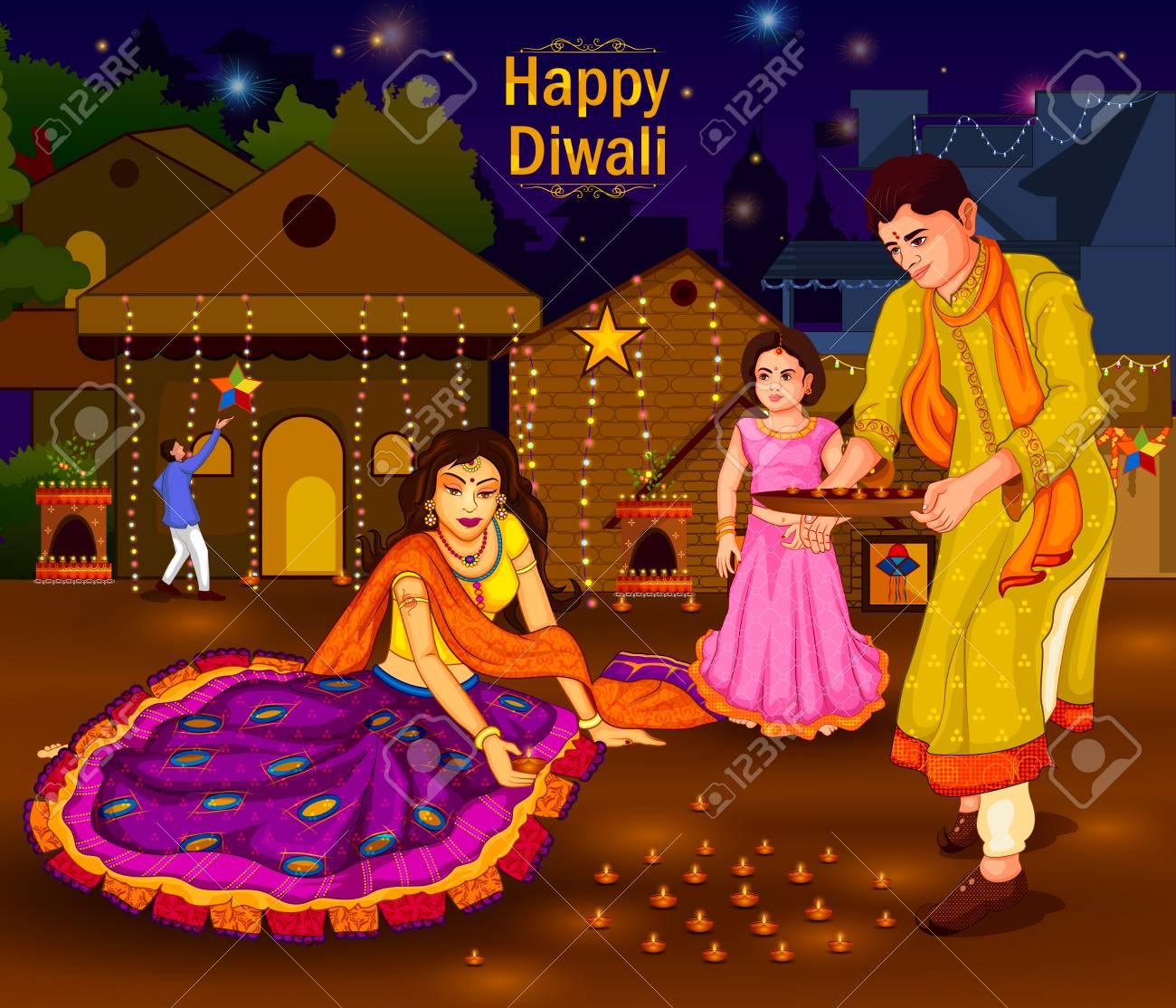 Indian family people celebrating Diwali festival of India.