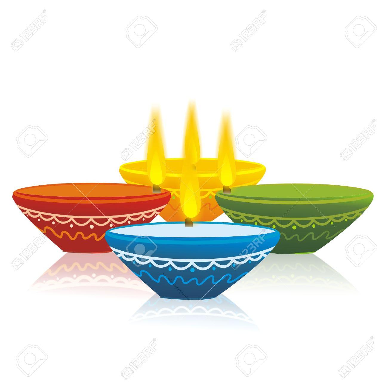 Colorful Diwali Lamps.