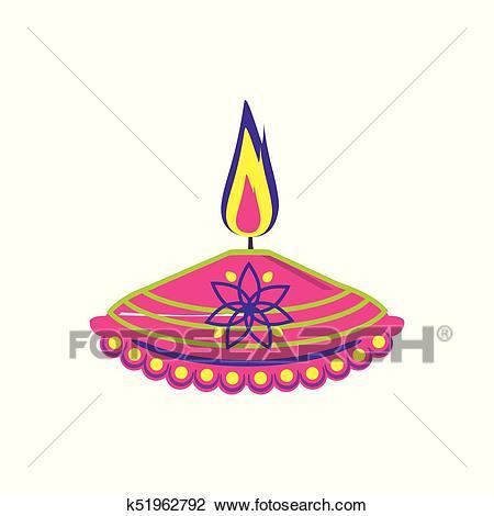 Diwali festival lamp Clipart.