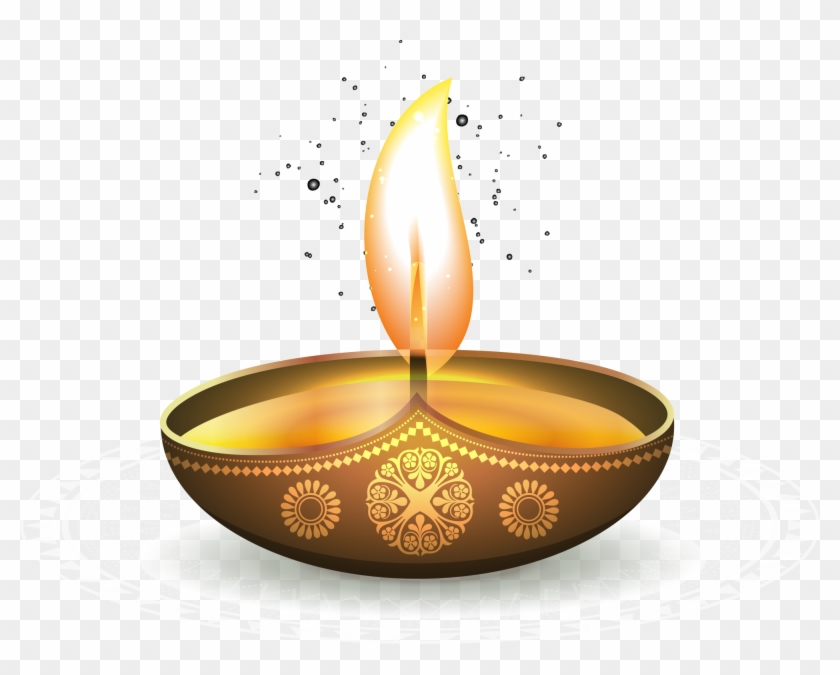 Golden Oil Ezhamkulam Light Diwali Lamp Shining Clipart.