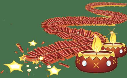Diwali Fireworks and Lamps transparent PNG.