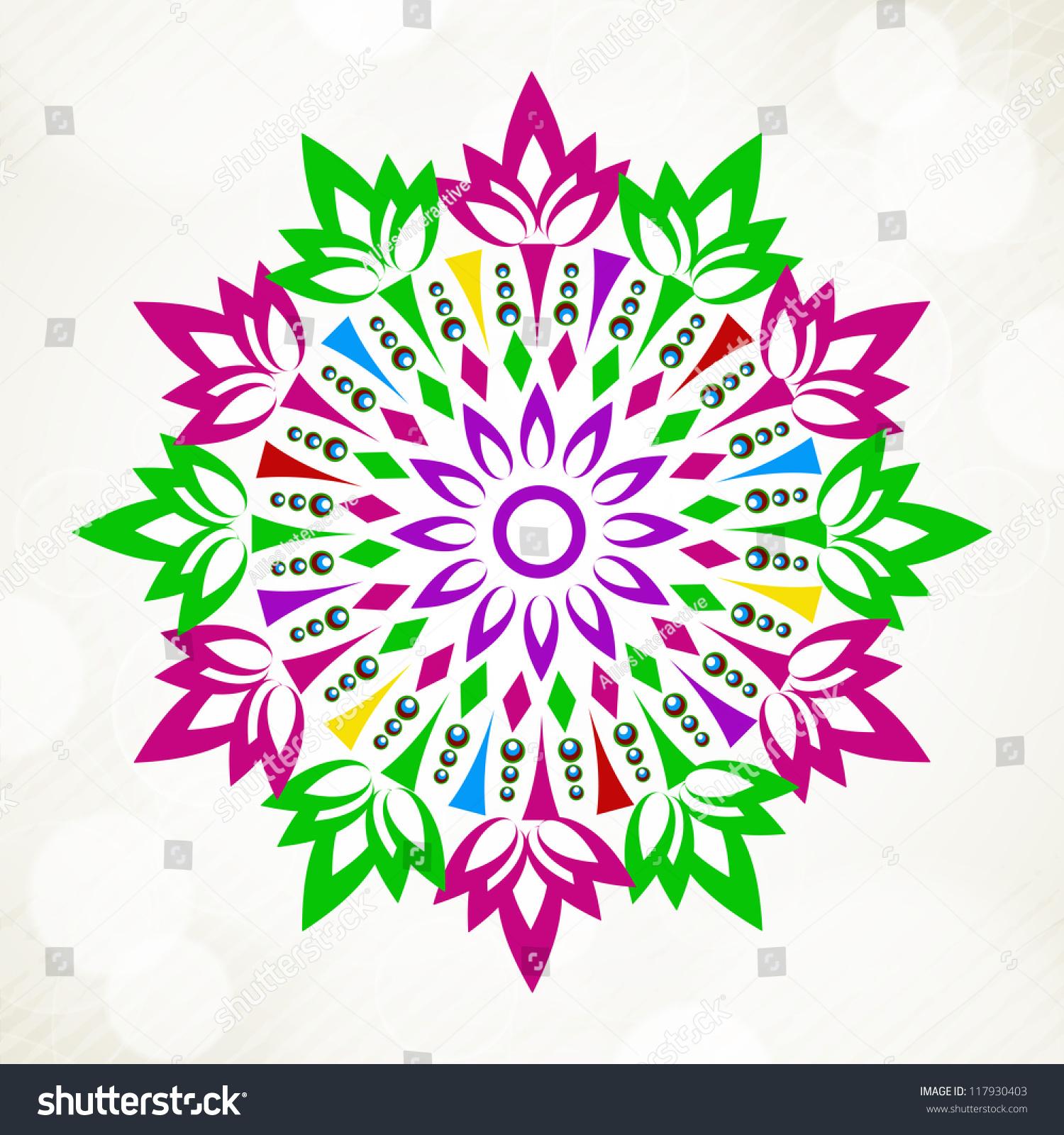 Beautiful Rangoli Design Diwali Festival India Stock Vector (Royalty.