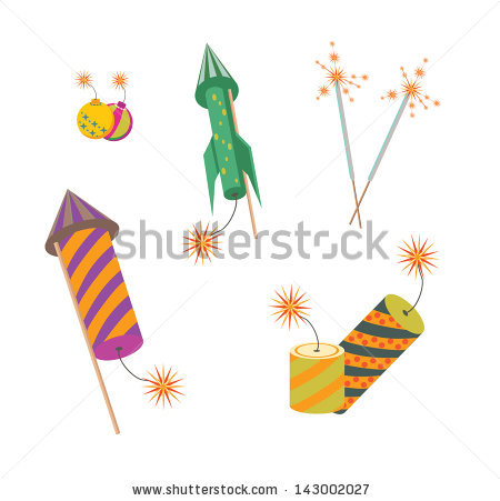 Illustration Set Colorful Firecracker Diwali Holiday Stock Vector.