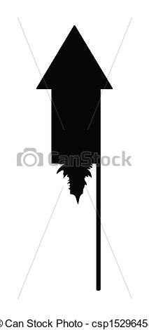 Clipart Vector of Diwali Rocket Crackers Silhouette.