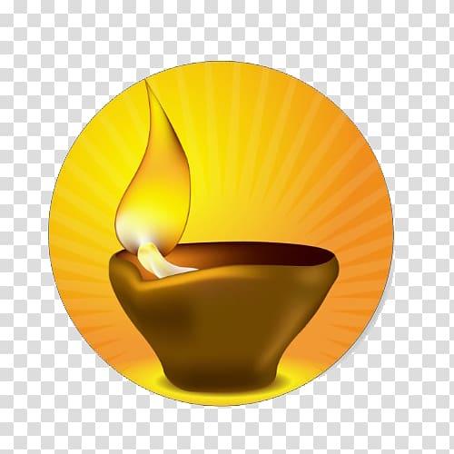 Diya Diwali Oil lamp Sticker Light, kalash transparent.