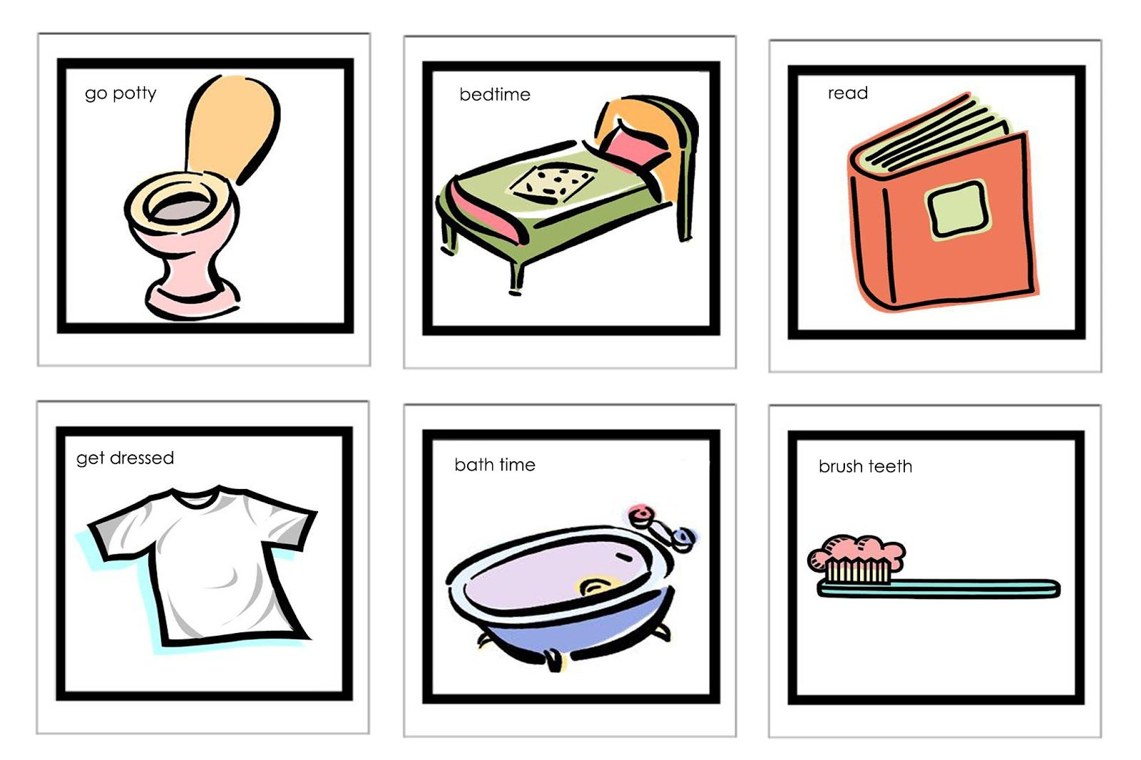 DIY visual schedule for kids: link to more clipart.