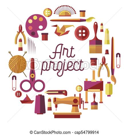 Creative art project vector poster for DIY handicraft and handmade craft  workshop classes.