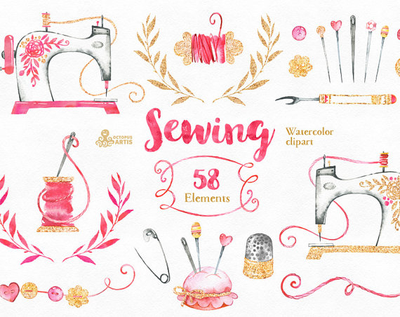 Sewing. Branding Kit and Clipart, watercolor, gold, diy.