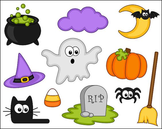 Cute Halloween Clipart, Digital Clip Art, Pumpkin, Black Cat.