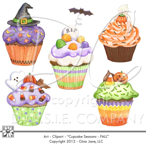 Halloween Clip Art Cupcakes of Halloween witch hat, grave yard.