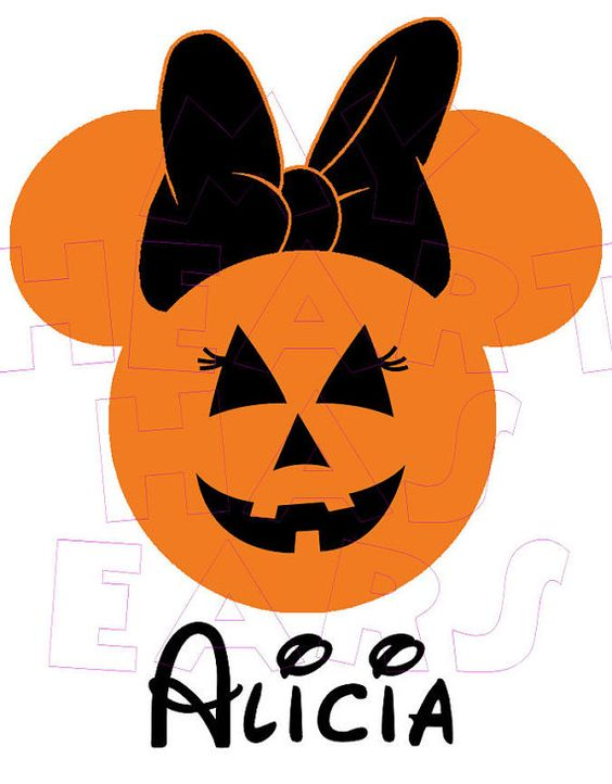 Printable DIY Jack O' Lantern Pumpkin Minnie Mouse digital clip.