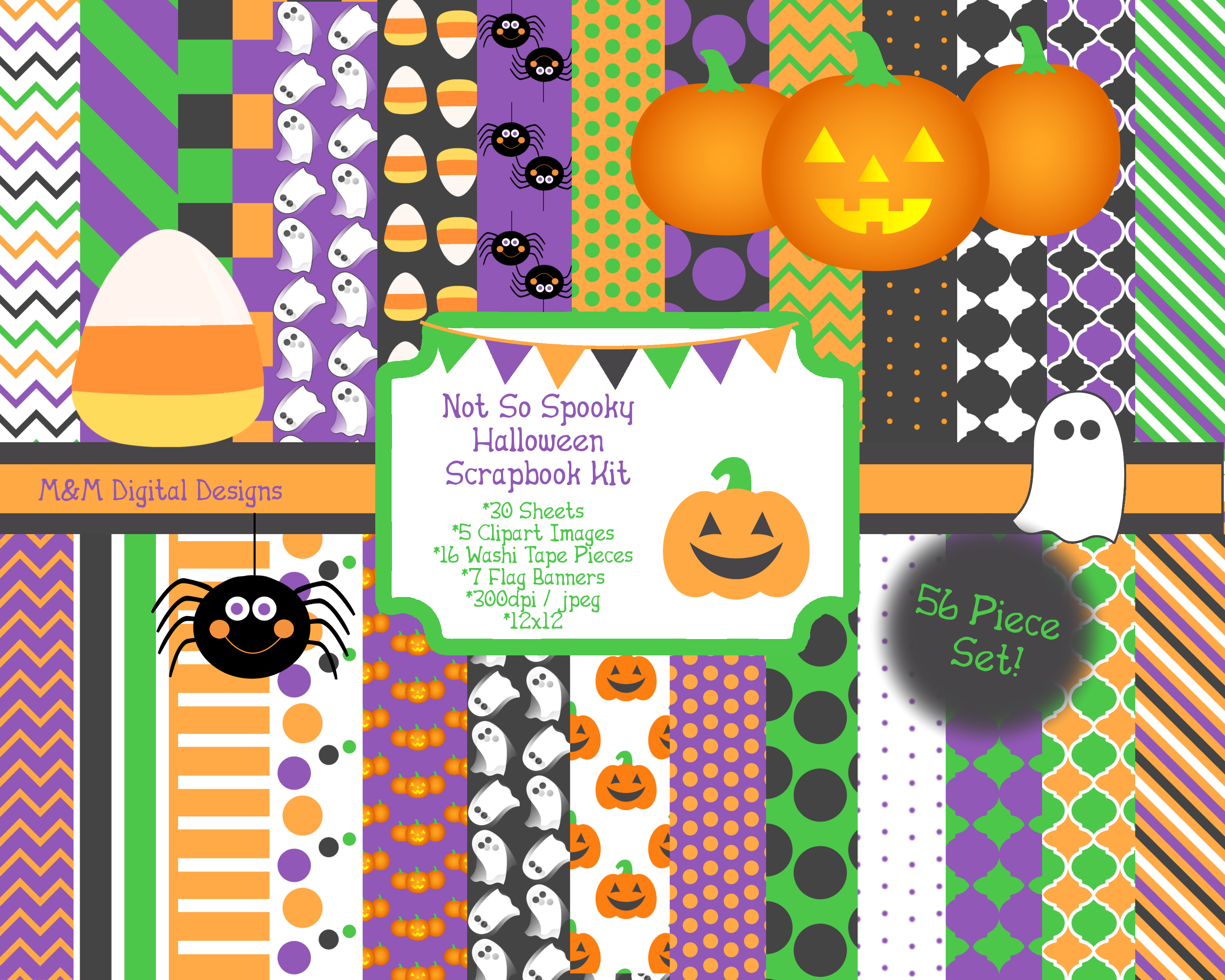 Not So Spooky Halloween Scrapbook Kit by MandMDigitalDesigns on Zibbet.