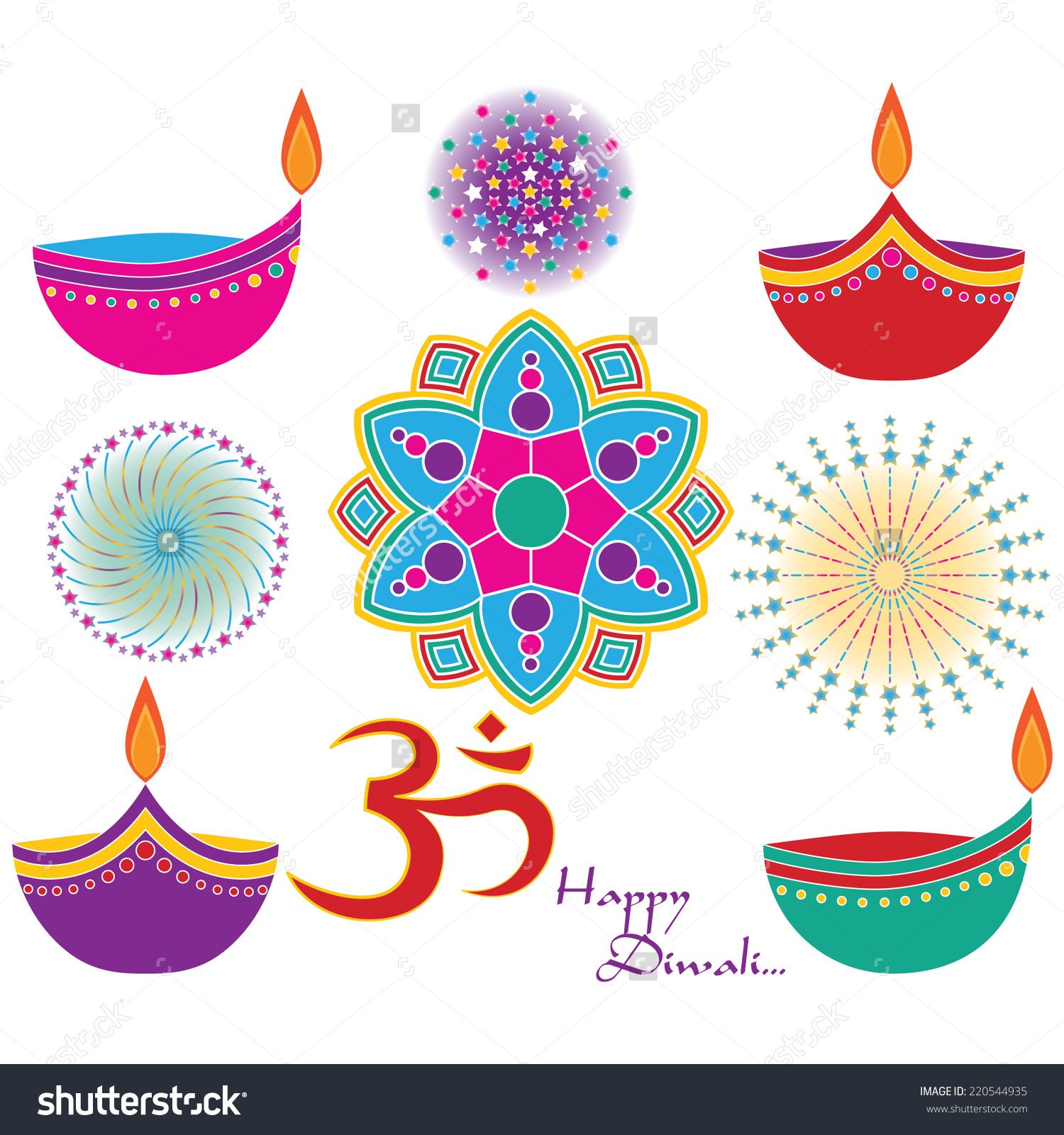 Diwali Vector Clip Art Set Om Stock Vector 220544935.
