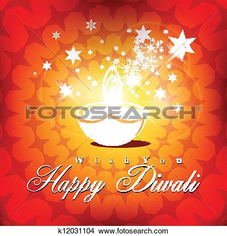 Clipart of Beautiful vector diwali diya in shiny glowing color.