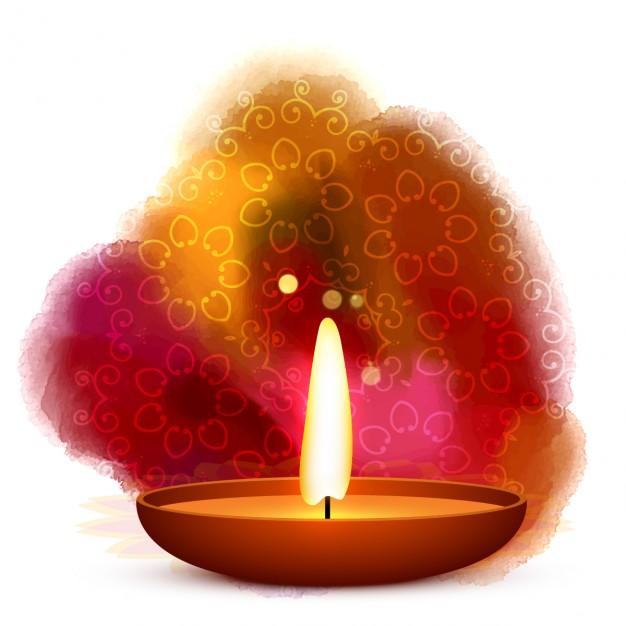 Diwali diya placed in water color background vector Vector.