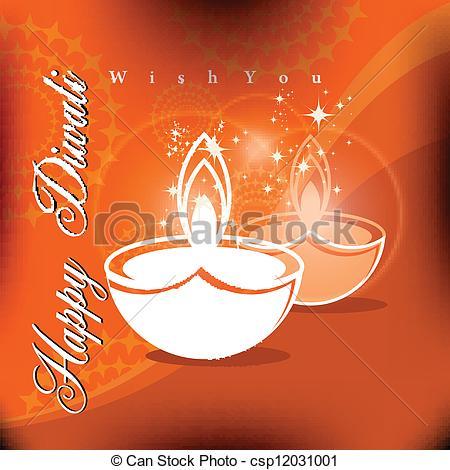 Vector Clipart of Beautiful vector diwali diya in shiny glowing.