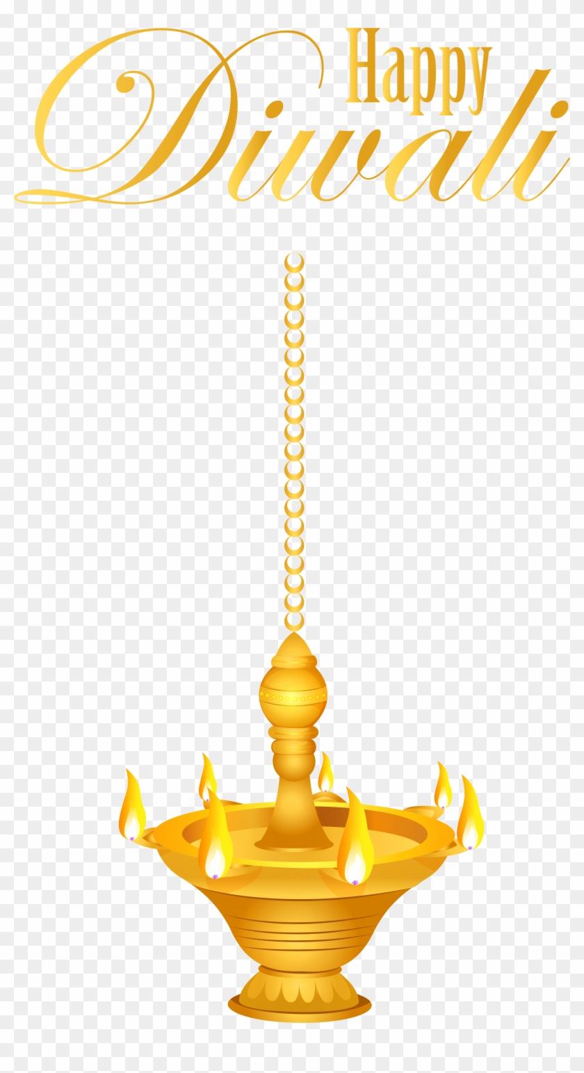 Happy Diwali Hanging Candlestick Png Clip Art Image.