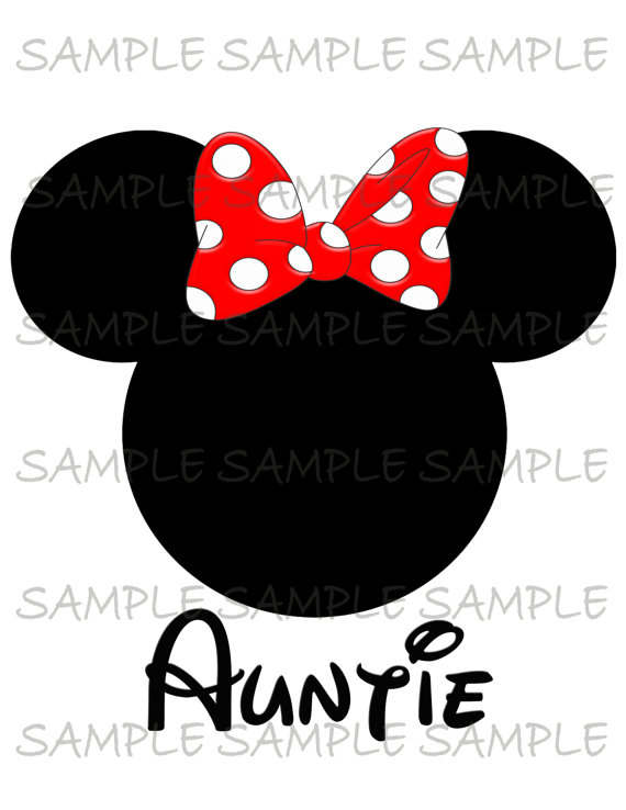 Minnie mouse head Auntie IMAGE Use as Iron on or Clip art Mouse.