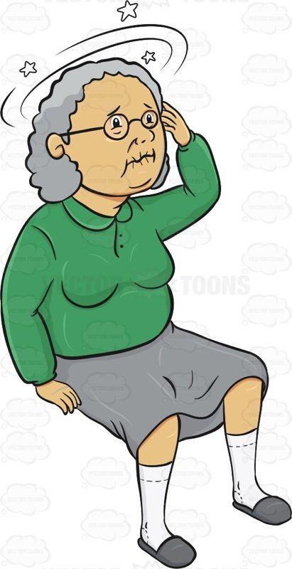 Elderly Woman Is Sitting Down And Feeling Dizzy.